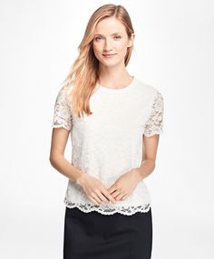 Short-Sleeve Jersey Lace TopIvory