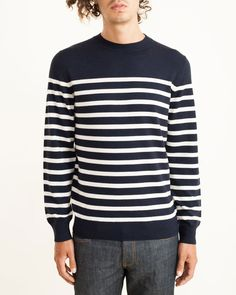 Stand Up Collar Stripe Sweater in Navy By A.P.C.