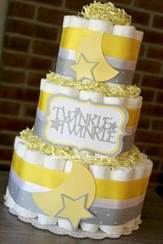 3 Tier Yellow and Gray Elephant Diaper Cake Yellow Grey