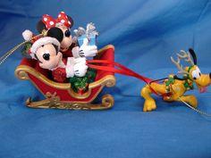 Mickey Minnie Pluto Reindeer Santa Sleigh Christmas Ornament Disney Parks #DisneyParksExclusive #ChristmasOrnament