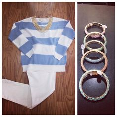 JAX Look of the Day! We love this new lightweight striped sweater from Olive & Oak! It's perfect paired with white cropped jeans and some fun jewelry! We think it looks great with a gold and pearl necklace or a few pastel bangles! #jaxboutique #jaxhaddonfield #downtownhaddonfield #lookoftheday