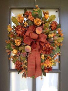 or Fall Floral arrangement Door Swag/Wreath Thanksgiving Mesh Wreath, Fall Wreaths, Thanksgiving Decorations, Christmas Wreaths, Fall Decorations, Wreath Crafts, Diy Wreath, Autumn Display, Fall Displays