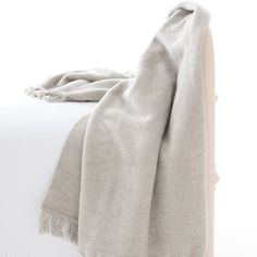Pine Cone Hill Windsor Fringed Fleece Throw - Platinum