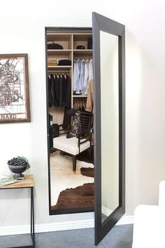 Easily hide an entire room or closet with our pre-assembled hidden mirror door. … Easily hide an entire room or closet with our pre-assembled hidden mirror door. Use the same solution celebrities & CEOs use. Mirror Closet Doors, Mirror Door, Closet With Mirror, Glam Mirror, Hidden Spaces, Hidden Rooms In Houses, Hidden House, Diy Casa, Safe Room