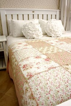 Linen & Soft Furnishings - Bay Tree Home & Decor Tree Furniture, Pink Quilts, Machine Quilting, Rose Buds, Soft Furnishings, Pink And Green, Comforters, Blanket, Bed