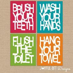 Kids Bathroom Wall Art. Bathroom Rules PRINTABLES. Brush Wash Flush Hang Prints. Bathroom Signs Decor. Set of 4 - 8x10 DIGITAL files.