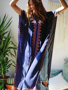 Skemo Embroidered Maxi Poncho