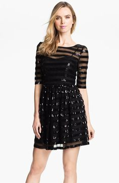 Max & Cleo Sequin Stripe Overlay Fit & Flare Mesh Dress available at #Nordstrom