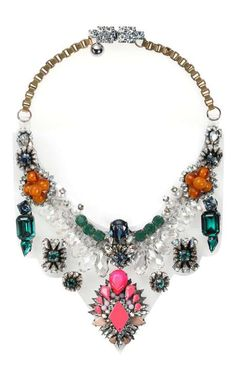 """""""The Shourouk Rhaiem jewelry collection is definitely an eye catcher, with a distinctive combination of embroidery, Swarovski crystals and colorful gems. It's hard not to notice these amazing pieces of jewelry."""""""