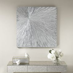 Madison Park Signature Sunburst Silver Resin Dimensional Palm Box in Silver - Olliix Madison Park Signature Sunburst Silver Deco Box Wall Art provides a modern update to your home decor. An abstract design in metallic silver creates an eye- Silver Wall Decor, Silver Walls, Glitter Wall Art, Glitter Canvas, Glitter Walls, Glitter Wallpaper, Sparkly Walls, Diy Canvas Art, Wall Canvas