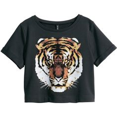 H&M Sweatshirt top (255 UYU) ❤ liked on Polyvore featuring tops, shirts, t-shirts, crop tops, black, short-sleeve shirt, short tops, cotton shirts, shirt top and shirt crop top