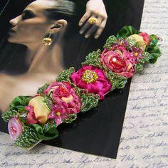 Tropical Rose Beaded Ribbon Bracelet