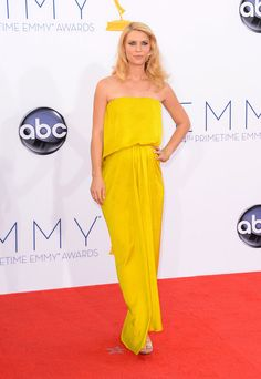 Emmy Awards 2012: Claire Danes wore a strapless yellow draped gown by Lanvin, paired with metallic pumps.  #Emmys