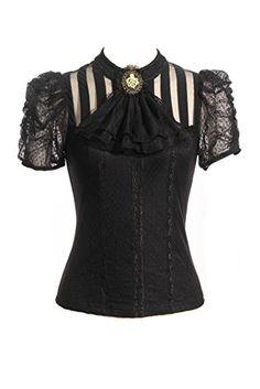 Steampunk Retro Punk Brocade Gothic Emo Womens Clothing Shopping Tee Shirt Tops, Medium, Black