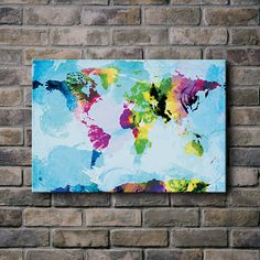 Watercolor World Maps/Typographic Art and Canvas Prints by sunnychampagne Canvas Painting Quotes, Diy Painting, World Map Painting, Water Color World Map, Canvas Prints, Art Prints, My Living Room, Crafty, Artwork