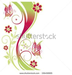 Pink and green tendril with flowers and butterfly, summer time.