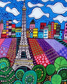50% off - Paris France Art Eiffel Tower art Panel Poster of Painting Mounted Ready To Hang Signed Print Heather Galler