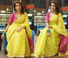 Adorable Way to Wear a Yellow Saree Indian Fashion Trends, Indian Designer Outfits, Indian Outfits, Pink Saree Blouse, Saree Blouse Designs, Bollywood Saree, Bollywood Fashion, Saree Color Combinations, Sarees For Girls