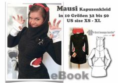 Mausi *** EBOOK PDF hooded dress instructions with cut in 10 sizes 32- 50, us size xs-xl handmade with LOVE by first lounge berlin