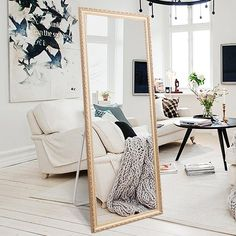 "Amazon.com: Full Length Large Floor Mirror, 65""x22"" Rectangle Wooden Finished Frame Mirror, Cheval Bedroom Free Standing Mirror, Dressing Mirror with Adjustable Stand for Bedroom, Champagne: Kitchen & Dining"
