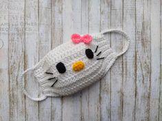 Crochet Mask, Crochet Faces, Diy Mask, Diy Face Mask, Hello Kitty Crochet, Face Masks For Kids, Crochet For Kids, Crochet Projects, Crochet Patterns