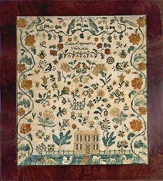 Lydia Lippincott Sampler, Burlington County, New Jersey, dated 1832. Silk on linen.