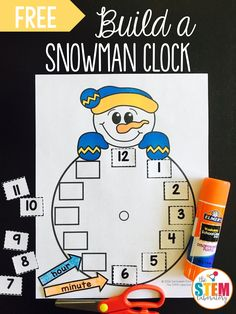 Free snowman clock. Fun telling time activity for winter!