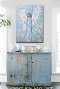 """""""An Angels Whisper"""" 24x18"""" ORIGINAL art, abstract, guardian angel painting white light blue grey textured angel wings Christmas gift gallery wall art spiritual home decor depicting heavenly angel watching over & protecting. By Contemporary Artist, Christine Krainock"""