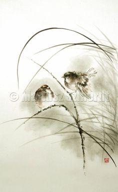 BIRDS Sparrows Bird Sparrow Black White Illustration Photo Design GICLEE fine art print of ink PAINTING