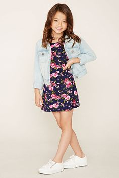 Forever 21 Girls - A knit tank dress featuring a floral pattern, round neckline, and a flared silhouette.