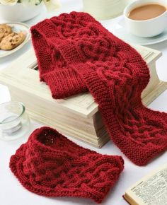 Cabled winter accessories ~ free knitting pattern for cabled scarf (ribbing on one end serves as a loop to pass the other end through)  matching headband