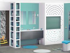 Salle de bain des enfants - J'adore la couleur des murs et les petites alcôves de couleur assorties Table Games, Best Teacher, Diy For Kids, Design Inspiration, Bathroom Inspiration, Layout, Mirror, Storage, House