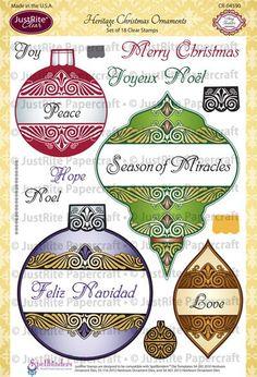 Heritage Christmas Ornaments Clear Stamps