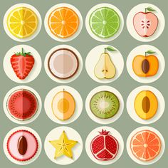 Retro fruit icons design graphics vector - Food Icons free download