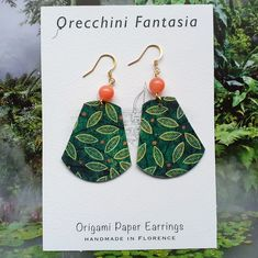Paper Earrings, Drop Earrings, Origami Paper, Earrings Handmade, Diana, Christmas Ornaments, Holiday Decor, Etsy, Jewelry