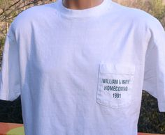 vintage t-shirt WILLIAM & MARY college homecoming solid gold pocket tee XL Large white 1991 by skippyhaha