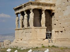 CLASSICAL PERIOD OF GREECE; Erechtheion, 421-405 BC #Caryatids are female figures serving as supports. Their name is most likely taken from the young women of Sparta who danced every year in honour of Artemis Karyatis ('Artemis of the Walnut Tree). In 1801 one of the caryatids and the north column of the east porch together with the overlying section of the entablature were removed by Lord Elgin in order to decorate his Scottish mansion, and were later sold to the British Museum.#