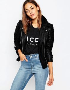 Image 1 of ASOS Ultimate Biker Jacket with Zip Detail in Leather