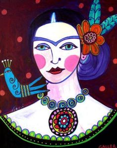 Frida Kahlo with Blue Bird Folk Art. Frida Kahlo Diego Rivera, Frida And Diego, Frida Art, Naive Art, Mexican Folk Art, Contemporary Paintings, Female Art, Art Lessons, Art Projects
