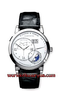 "A. LANGE AND SOHNE - GRAND LANGE 1 ""LUNA MUNDI"" - 119.026 (WHITE GOLD / SILVER, GREY DIAL / BLACK CROCODILE LEATHER)"