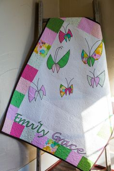 Girl's Butterfly Quilt, Spring Baby Quilt, Pink Baby Girl's Blanket, Personalized, Modern, Handmade Baby Quilt for Sale