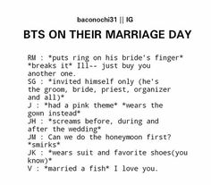 Bts marriage day meme kpop army tae marry a fish Bts Namjoon, Jimin, Taehyung, Hoseok, Seokjin, Bts Funny, Bts Memes Hilarious, Bts Quotes, Funny Quotes