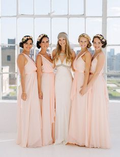 Bridesmaids in blush MK by Melissa Kritsotakis dresses::