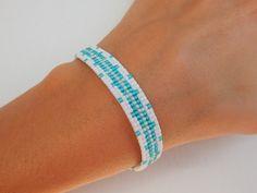 Manchette fine tissée Bijou'lie perles Miyuki Argenté Blanc Turquoise : Bracelet par bijou-lie
