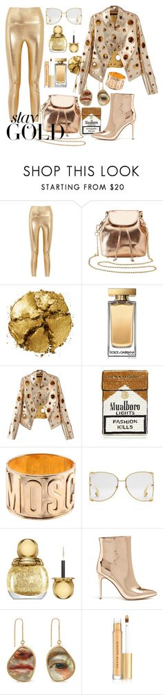 """""""Stay Gold"""" by valkyrjur ❤ liked on Polyvore featuring Norma Kamali, Charlotte Russe, Pat McGrath, Dolce&Gabbana, WithChic, MUA MUA, Moschino, Gucci, Christian Dior and Forever 21"""