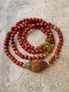 FREE SHIPPING, Mala 108 Buddhist bead , Rudraksha seeds necklace, 6 mm Red Jasper Wrapped Wrist Mala Necklace by AbourShop on Etsy