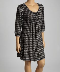 Reborn Collection Black & Gray Houndstooth Shift Dress - Plus by Reborn Collection #zulily #zulilyfinds