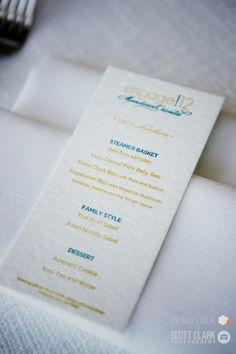 #engage12 Letterpressed luncheon  menu by designed by Trisha Hay Design and letterpress b Two Paper Dolls @MO_LasVegas