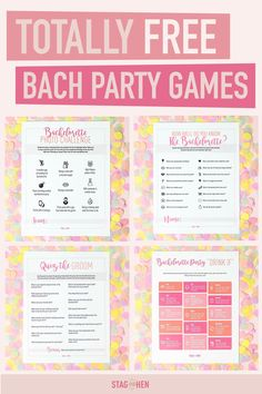 Looking for some affordable bachelorette party games and activities for your bestie's final fling? Look no further! We offer fun and free bachelorette party games like Bachelorette Party Scavenger Hunts, Bachelorette Party Photo Challenges, Bachelorette Party Bride Triva and more! Simply download your favorite and print out at home. And YEP - they really are free!  Stag  Hen also offers over 200 cute and classy bachelorette party supplies for an unforgettable weekend.