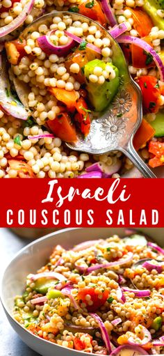 This Israeli Couscous Salad is a light and fresh side dish for summer! Bright flavors of lemon and herbs, along with cucumber, tomato and onion mixed with pearl couscous tastes delicious on its own or as a side to grilled meats. Pearl Couscous Recipes, Pearl Couscous Salad, Israeli Couscous Salad, Side Dish Recipes, Side Dishes, Dinner Recipes, Veggie Dishes, Dinner Ideas, Main Dishes